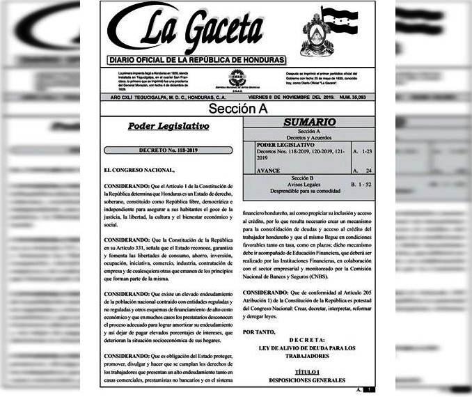 APROBADA: Ley de Alivio de Deuda se publicó en La Gaceta