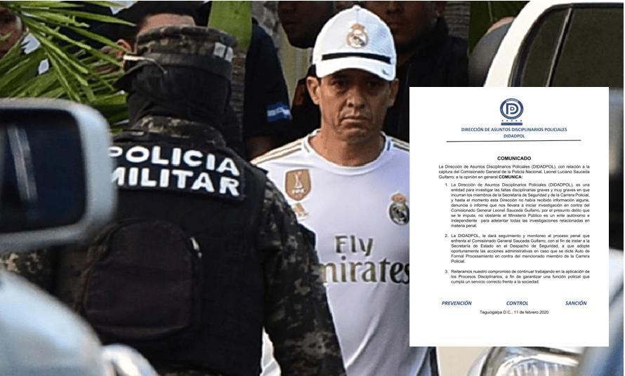 DIDADPOL reacciona mediante  un comunicado sobre captura de Leonel Sauceda