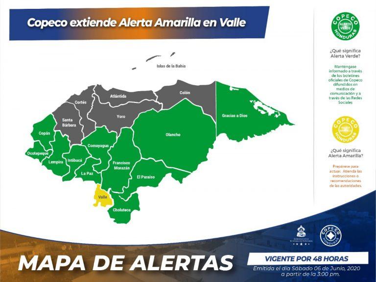 COPECO extiende Alerta Amarilla para el departamento de  Valle