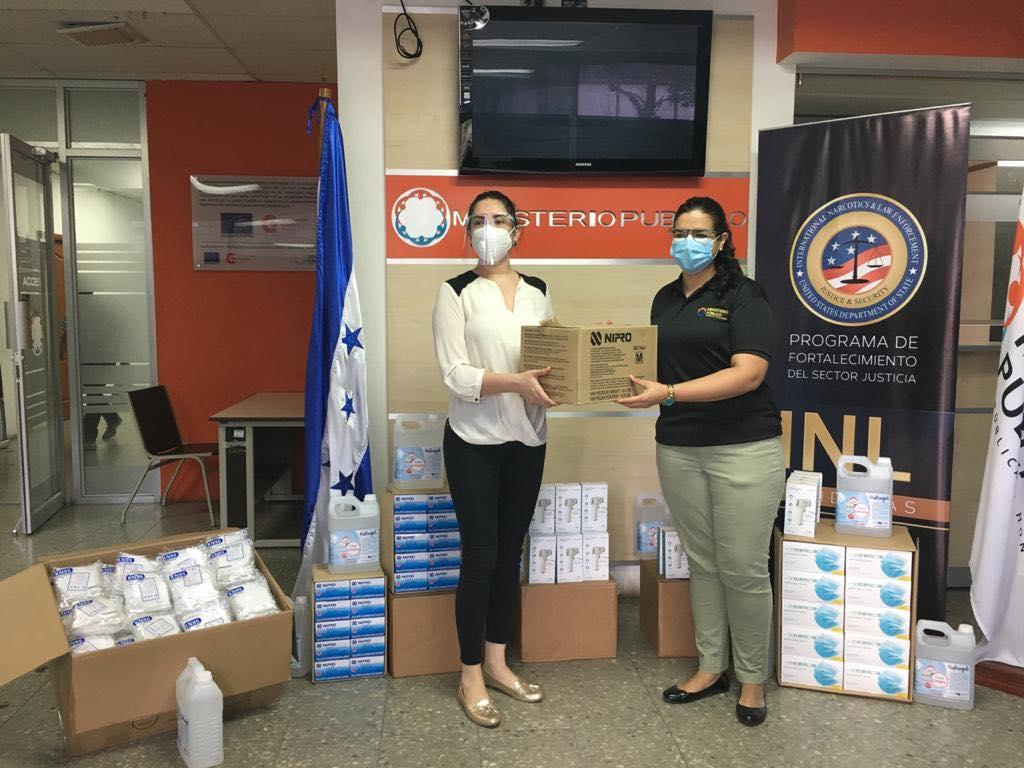 Unos 350 mil lempiras en material de bioseguridad dono la Embajada de EEUU al Ministerio Público