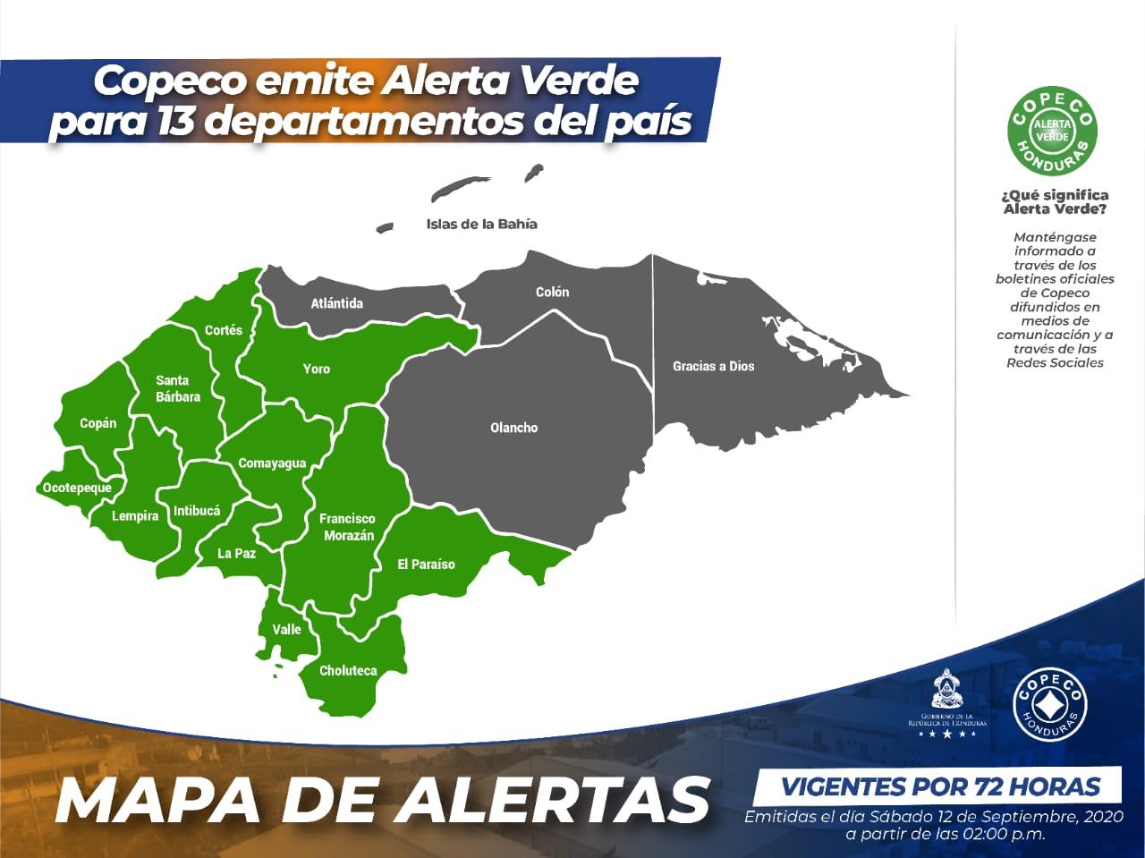 Copeco emite Alerta Verde para 13 departamentos del país