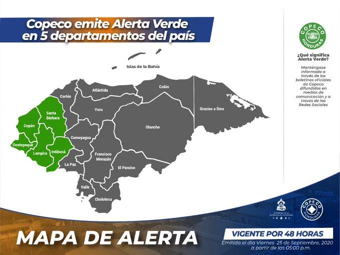 Emiten Alerta Verde por 48 horas para cinco departamentos de Honduras
