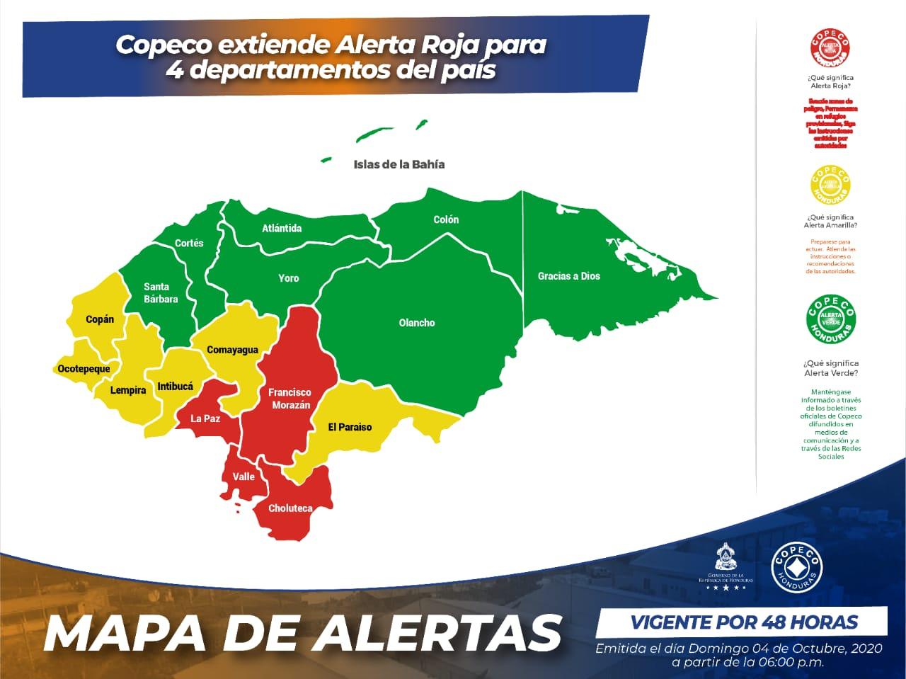 Extienden La Alerta Roja por 48 horas para 4 departamentos del país