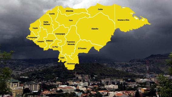 Copeco decreta alerta amarilla por lluvias para todo el territorio nacional