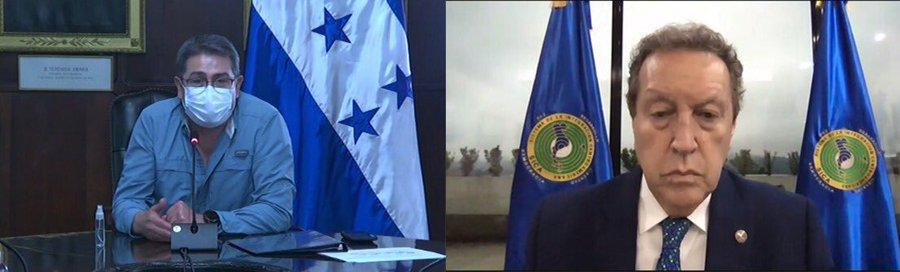 Presidente Hernández y secretario general del SICA dialogan sobre la hoja de ruta para la reconstrucción de Centroamérica