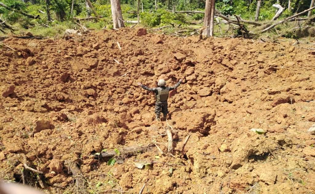 FFAA destruyen narcopista inhabilitada años atrás en Gracias a Dios