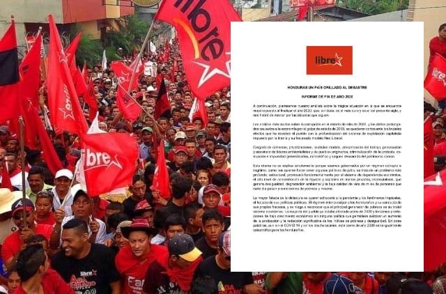 """LIBRE presenta Informe de fin de año:  """"Honduras un país orillado al desastre"""""""