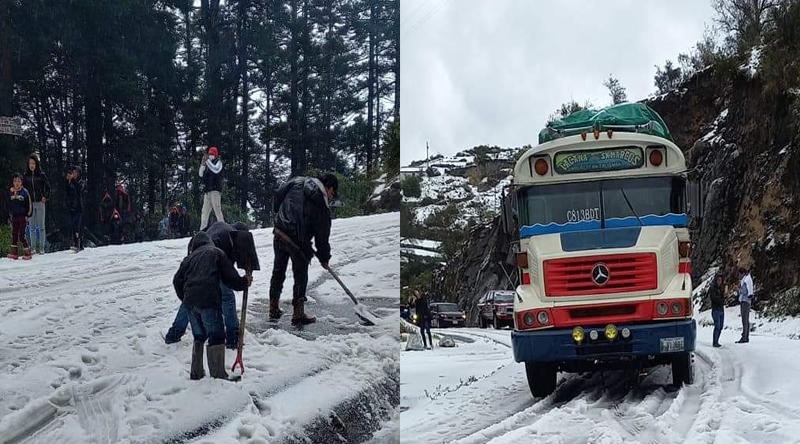 ¡Insólito! Caída de granizo en Guatemala cubre las calles de blanco en forma de nieve