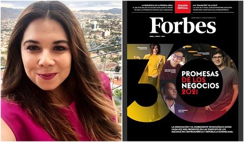 """Forbes: destaca a la  hondureña Amy Campos como """"promesa de negocios 2021"""""""